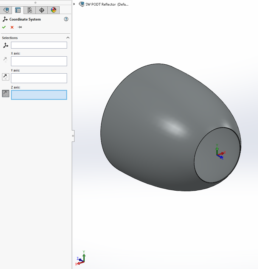 Solidworks PODT Tutorial - COB Reflector - Z Axis