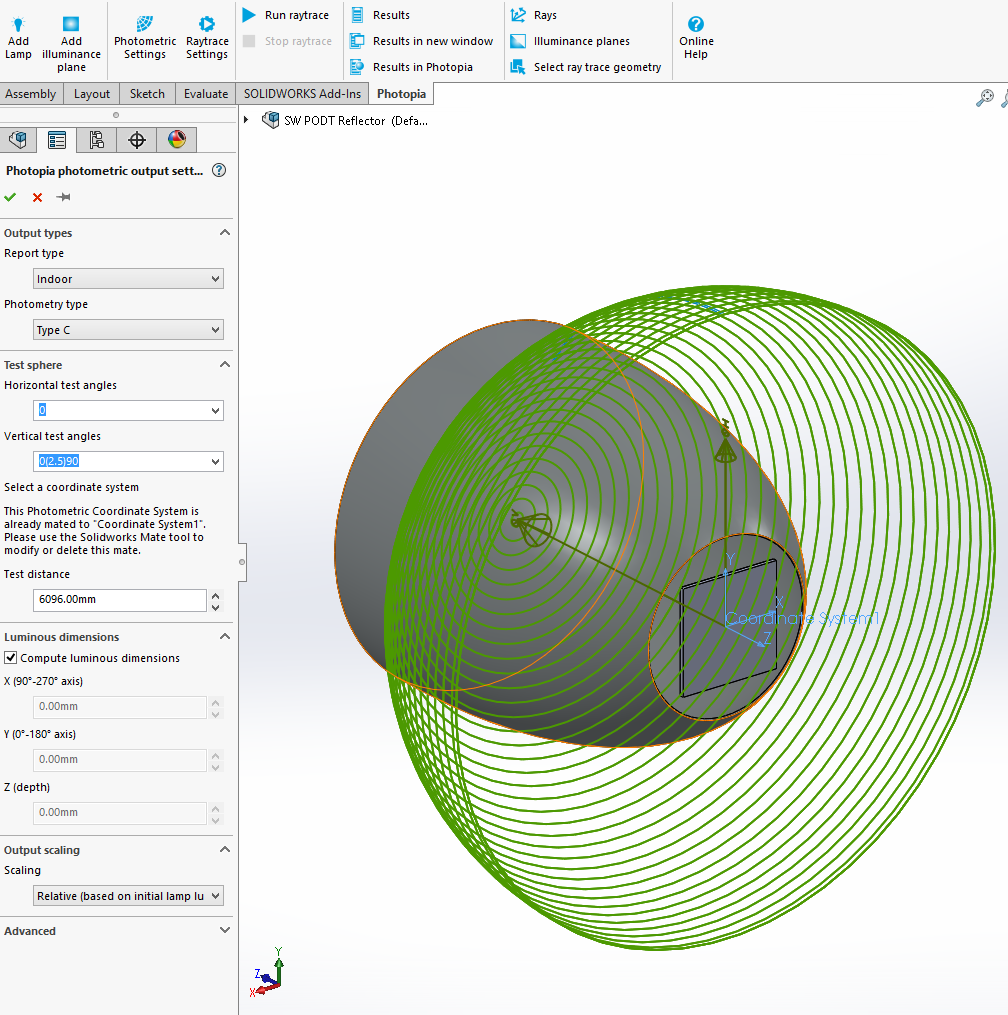 Solidworks PODT Tutorial - COB Reflector - Photometric Settings
