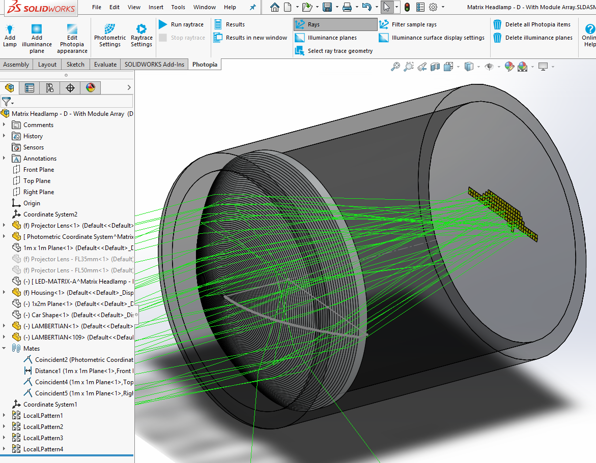 Automotive forward lighting optical design in Solidworks with matrix headlight showing LEDs and projection lens