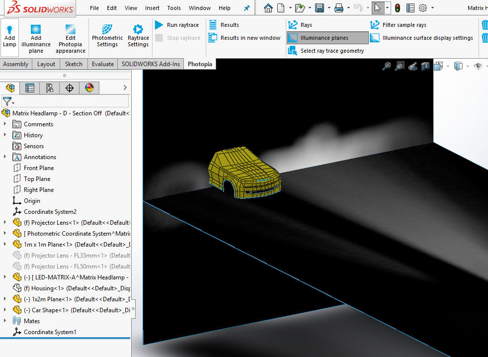 Automotive forward lighting optical design in Solidworks with matrix headlight showing shadow