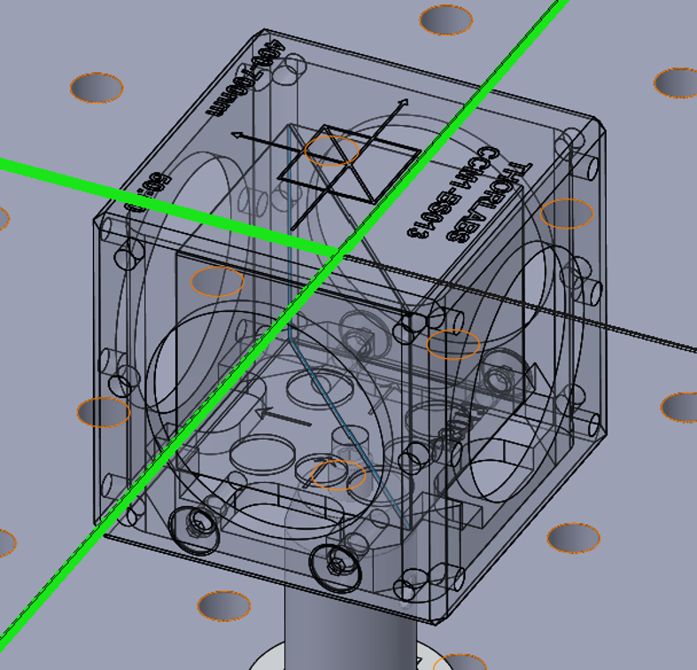 rendering of optical cube in Photopia for SOLIDWORKS optical design software